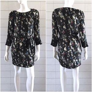 RACHEL Rachel Multi Print 3/4 Sleeve Sheer Dress